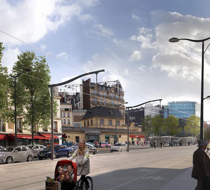 Perspective du tramway à la Porte Maillot